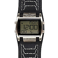 Black square digital watch