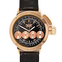 Rose gold tone chunky dial watch