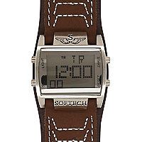 Brown digital display square watch