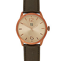 Black classic rose gold face watch