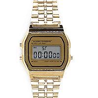 Gold tone digital bracelet watch