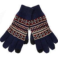 Navy fair isle knitted gloves