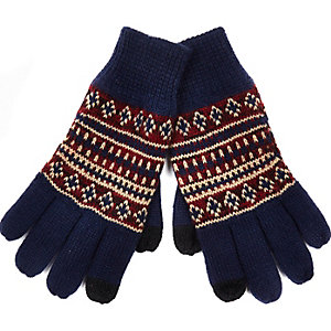 Navy fair isle knitted gloves