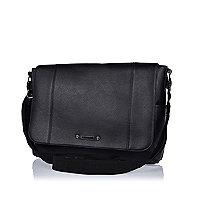 Black textured satchel messenger bag