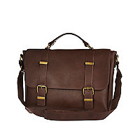 Brown textured satchel bag