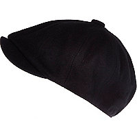 Black melton baker boy hat