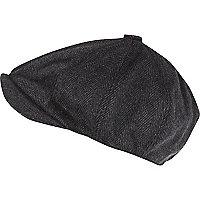 Grey herringbone baker boy hat