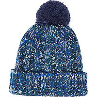 Navy cable knit beanie hat