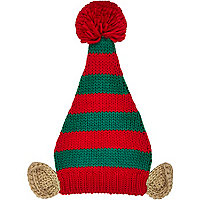 Red Christmas elf beanie hat