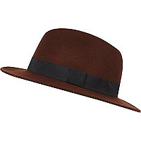 Brown felt fedora hat