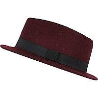 Dark red felt pork pie hat