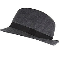 Grey felt trilby hat