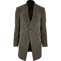 Grey textured woollen jacket