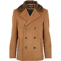 Camel woolen faux fur collar peacoat