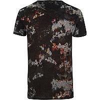 Black abstract floral print t-shirt