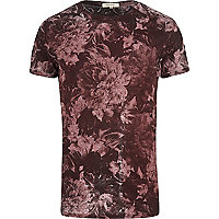 Dark red floral t-shirt