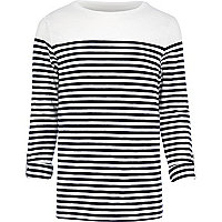 Ecru breton stripe long sleeve t-shirt