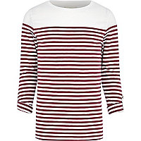 Dark red breton stripe long sleeve t-shirt