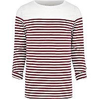 Dark red breton stripe long sleeve t-shirt