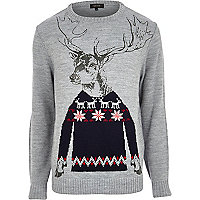 Grey Christmas stag jumper