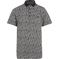 Black paisley print polo shirt