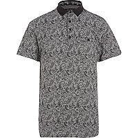 Black paisley print polo shirt