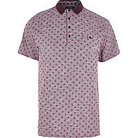 Red marl button print polo shirt