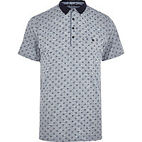 Blue foulard print polo shirt