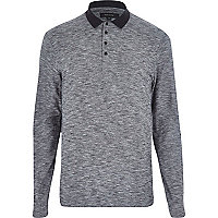 Dark grey long sleeve contrast polo shirt