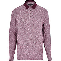 Dark red long sleeve contrast polo shirt