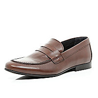 Brown slip on loafers