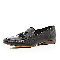 Brown textured tassle trim loafers