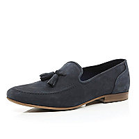 Navy nubuck tassel trim loafers