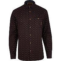 Dark red Holloway Road ditsy print shirt
