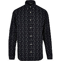 Navy Only & Sons moustache print shirt