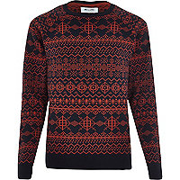 Red Only & Sons printed jumper