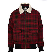 Red check Bellfield shearling bomber jacket