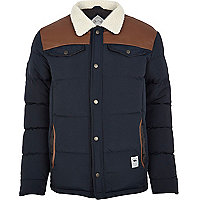 Navy Bellfield shearling padded jacket