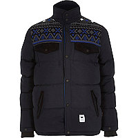 Navy Bellfield jacquard padded jacket