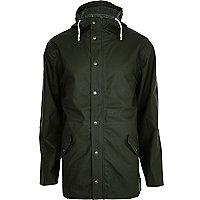 Dark green Bellfield hooded rain mac