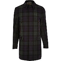 Green Holloway Road tartan waxed mac