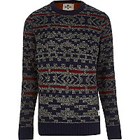 Grey Bellfield fair isle knitted jumper