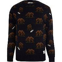 Navy Bellfield bear jumper