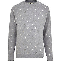 Light grey Bellfield ditsy print sweatshirt