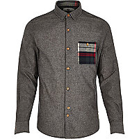 Dark grey Bellfield check pocket shirt