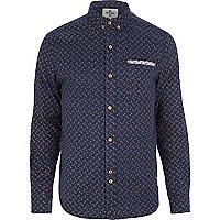 Blue Bellfield ditsy paisley print shirt