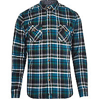 Teal Bellfield check long sleeve shirt