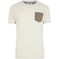 Ecru Bellfield stripe pocket t-shirt
