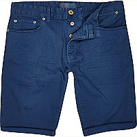 Bright blue skinny shorts