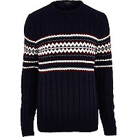 Navy fairisle cable knit jumper